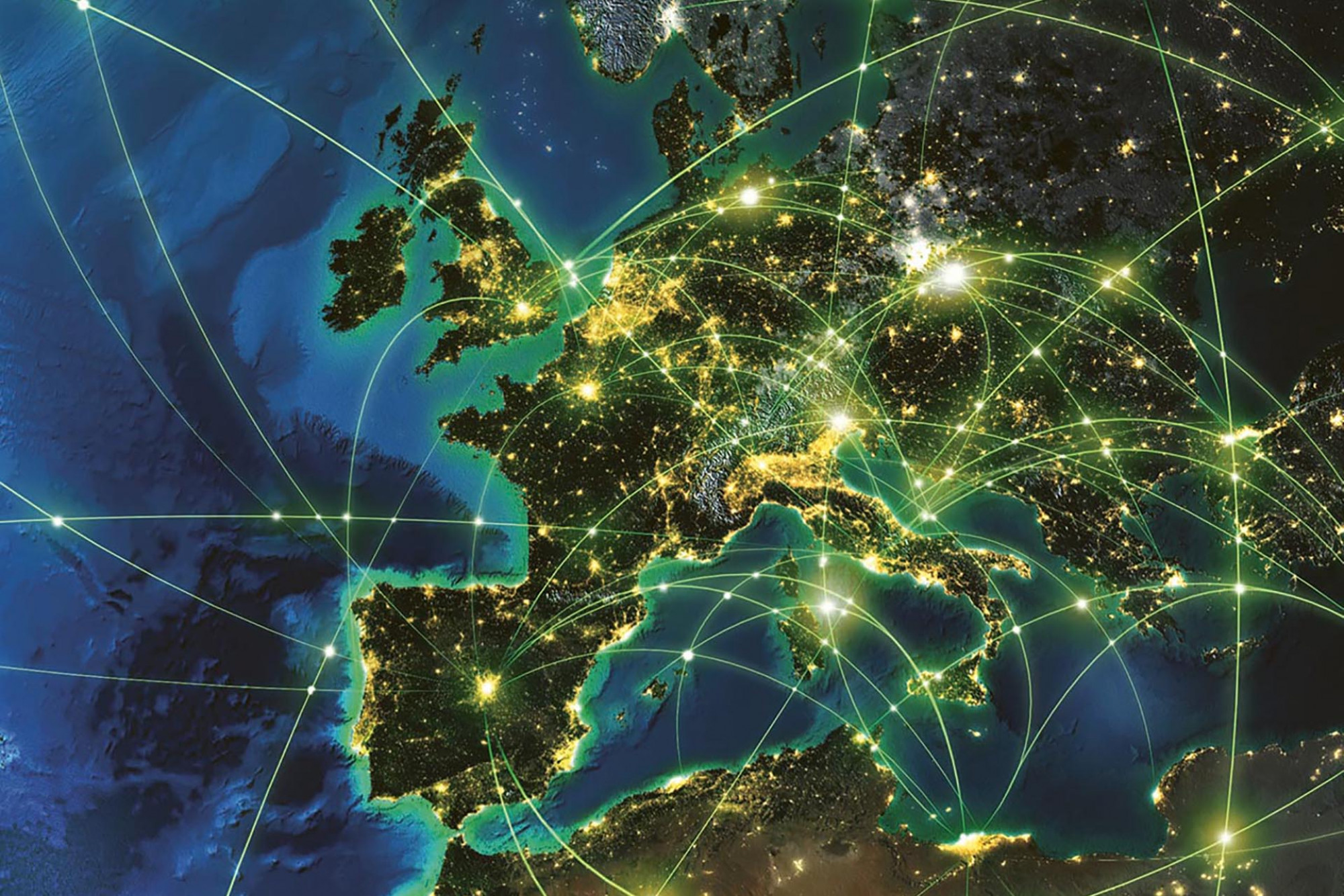 Map of the world with lights linking countries and businesses.