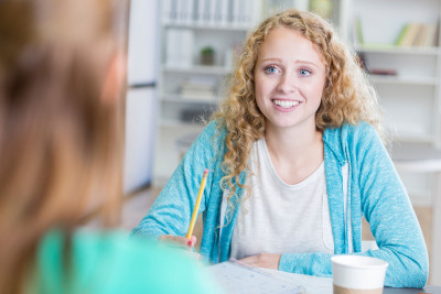 Female student in a study advice session