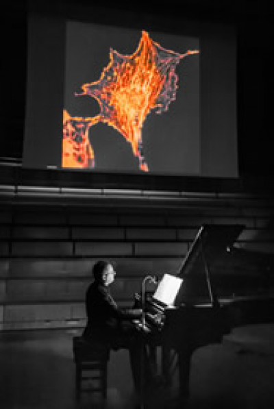 Pianist playing beneath a projector screen in the concert-hall