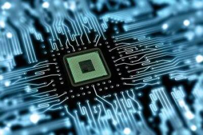 Computer microchip in a circuit