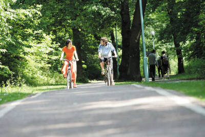 Two students cycling