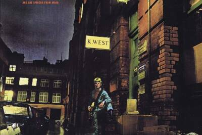 Album cover to Ziggy Stardust featuring Bowie outside a police station