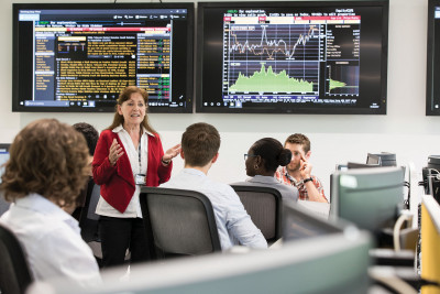 Teacher giving a lecture in The Bloomberg Suite