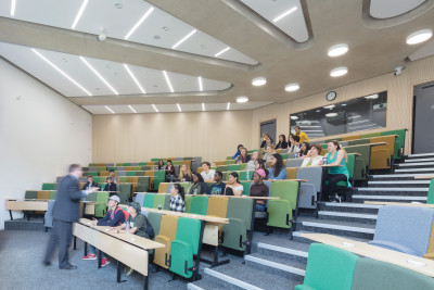 A lecturer giving a lesson in our modern lecture theatre