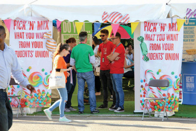 Students at the Kent Union tent in Welcome Week