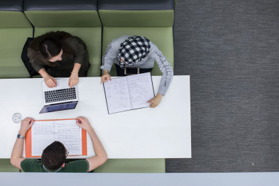 Bird's eye view of students at desk