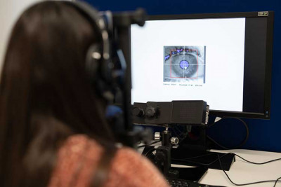 Image of an eye on a computer screen to demonstrate eye-tracking software