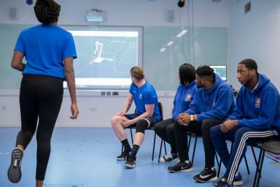 Students in the biomechanics gait lab.