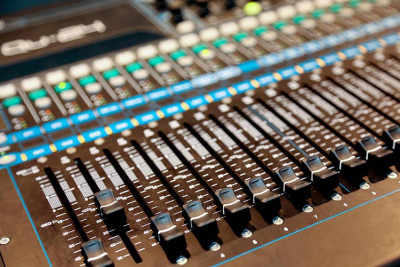 Close up of mixing desk