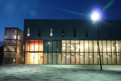 Jarman building, home of the School of Arts, at night