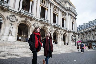 Paris students outside the Acadamie Nationale de Musique.