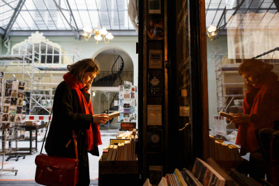 Student in a Paris bookshop.