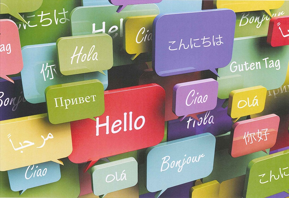 Multi-coloured speech bubbles with 'hello' in many different languages