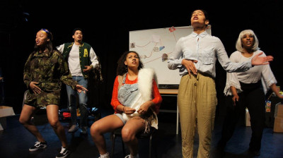 Students performing in The Aphra theatre.