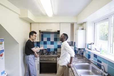 Two male students in a Darwin House kitchen